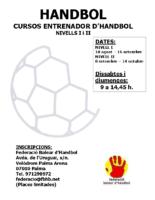 Cursos Entrenador Handbol nivell I i nivell II