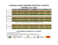 Horaris campionat Balears infantil cadet